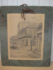 """OLD VINTAGE """"BOURBON STREET NEW ORLEANS"""" PRINT ON ROOFING SLATE, BY ARCHIE BOYD"""