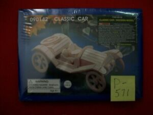 NEW CLASSIC CAR WOODEN MODEL #90142 AGES 6+ GREAT DAY PROJECT FOR BORED KIDS NIP