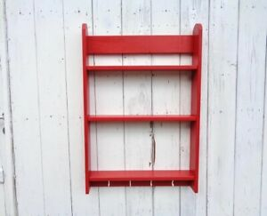 Mensola rossa legno da parete tre ripiani con ganci Scaffale da cucina Mobiletto