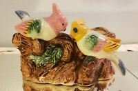 Vintage Two Bird Tree Pink Yellow Hand Painted Planter Japan
