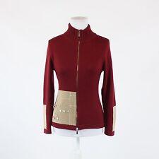 Maroon red beige color block wool blend SWIG long sleeve zipper front sweater L