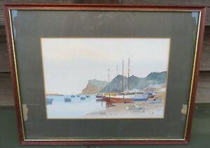 Framed Mark Gibbons Ltd. Ed. Litho Print Shaldon Beach Scene