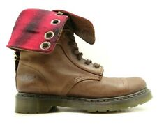 Dr Martens Brown Leather Lace Up Fold Shaft Cap Toe Boots Women's 7 UK / US 9