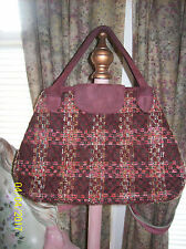 Vera Bradley Retired Wool/Tweed Limited Edition Plaid Burgundy Suede Doctor Bag