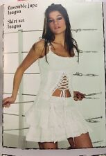 Disigners French Resille White Mini Linen Skirt Set Sz M New Sexy