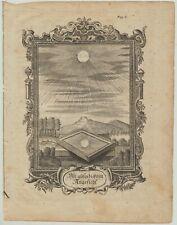 SONNE Astronomie Original Ornament Kupferstich um 1750 Rollwerk Kunst Spiegel