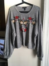 NEW LOOK Grey Floral Embroidered Jumper Size M 12 14