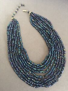 VINTAGE BEAD NECKLACE MULTI STRAND PEACOCK COLOUR 1950s 1960s