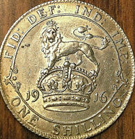 1916 UK GREAT BRITAIN GEORGE V SILVER SHILLING - Fantastic lustrous example!