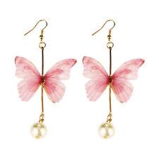 Fashion Women Silk Butterfly Drop Dangle Tassel Pearl Ear Hook Earrings Jewelry