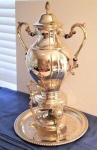 "Vintage Sheridan Silver Plated 20"" Samovar Coffee Tea Hot Water Urn with Burner"