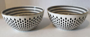 The Old Pottery Company Black & White  Gold Rim Cereal  Soup Bowl Set of 2