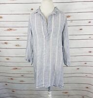 CP Shades Striped Tunic Top Chambray White V-Neck Relaxed Linen Fit Size M