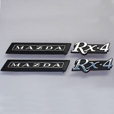MAZDA RX4 , 4 peice Badges Set chrome, Brand New, for Rotary Rotor 12A 13B 10A