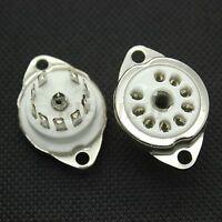 9pin Ceramic Valve Tube Socket for 12AX7 6922 12AU7 EL84 6DJ8 Chassis Mountx10