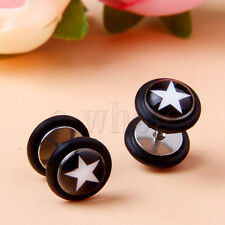 1 Pair Black with White Star Barbell Ear Studs Fake Cheater Stretcher Earring HM