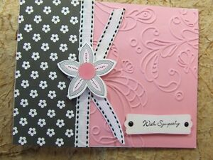 Handmade SYMPATHY Card EMBOSSED  Using Stampin Up Flower PINK