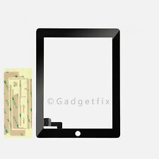 USA iPad 2 Front Touch Screen Lens Glass Digitizer + Adhesive Glue Sticker Tape