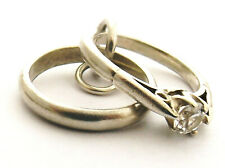 wedding ring set vintage sterling silver charm engagement and wedding rings