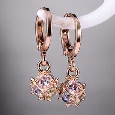 Fashion Womens Rose Gold Plated Binding Ball Crystal Drop Earrings