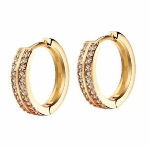9ct Yellow Gold Filled Cubic Zirconia Men's Women's 17mm Huggie Hoop Earrings