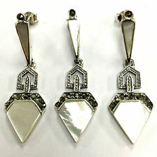 GREAT ART DECO MOTHER OF PEARL MARCASITE SET PENDANT EARRING 925 STERLING SILVER