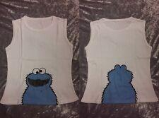 NEW Cookie Monster/Sesame Street White Vest/Top/Tshirt Retro/Cute/Kawaii Sz S/M