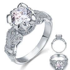 Anelli di lusso tonda in argento sterling fidanzamento