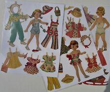 Vintage Paper Dolls - Original - 3 little girls with felt clothing - pre-cut