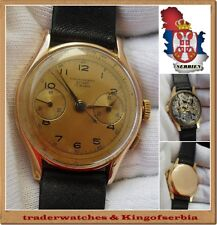 .Chronographe Suisse @ Men's gold watch 18K - stopwatch cal L48 !!!