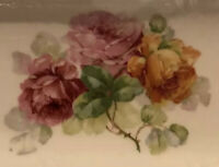 """BAVARIA  Limoges, Antique 12"""" Oval Platter Hand Crafted And Hand Painted"""