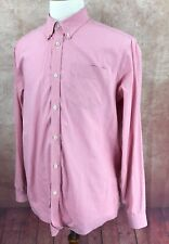 Eddie Bauer Wrinkle Resistant Relaxed Fit Long Sleeve Pink Check Shirt Men's L
