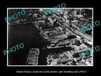 OLD POSTCARD SIZE PHOTO TOULON FRANCE AERIAL VIEW AFTER WWII BOMING c1944 3