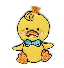 Iron On Embroidered Applique Patch - Yellow Duck with Blue Bowtie 1518412A