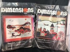 Vintage Dimensions Crewel Kits Country Sleigh Ride Country Travel Wool 1980