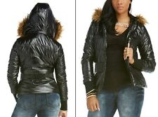 Women's Puffer Coat Size Small Black Jacket Brown Faux Fur Hood Nicki Minaj NWT