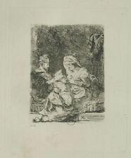La vierge et l'enfant - Rembrandt Eau Forte XIXème siècle