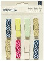 American Crafts Whittles CHEVRON Clothespins 8pc Mixed Media Home Decor