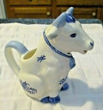 Vintage Blue and White Sitting Cow Creamer