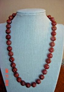 """Genuine Brown Onyx Necklace, Carved Swirl 12mm beads, 19"""" Knotted, Free-shipping"""
