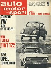 1011AMS Auto Motor Sport 1967 9/67 Fiat 125 Commodore R 380-2 Oettinger VW 1200