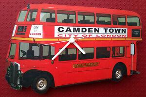 LONDON RED DOUBLE DECKER BUS WALL CLOCK CAMDEN TOWN HAND MADE WOODEN CLOCK