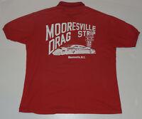 VINTAGE 'MOORESVILLE DRAG STRIP' RED POLO SHIRT! BIG GRAPHICS ON BACK! NC USA! L