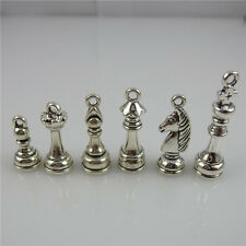 Dangle Chess Pendant Jewelry Making 11850 4Set=24Pcs Vintage Silver Tone Alloy