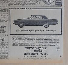 1963 newspaper ad for Dodge - 1964 Dart, for the growing compact family