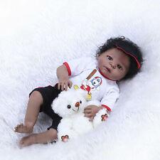 """Reborn Baby Dolls African American 23"""" Full Body Silicone Baby Boy Doll Washable"""