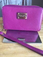 Michael Kors Raspberry Pink Jet Set Wristlet Wallet W/ Gold Tone Hrdwr NWOT