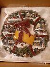 Thomas+Kinkade+Christmas+Village+Lighted+Wreath+Hamilton+Collection+NIB