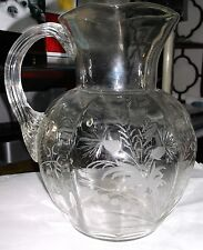 Pairpoint Mt Washington cut etched glass pitcher c1800s rare find in clear