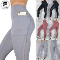 Women High Waist Yoga Mesh Pants Workout Gym Leggings Fitness Stretch Trousers A